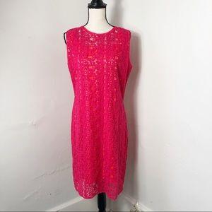 Elie Tahari Pink Floral Lace Overlay Shift Dress